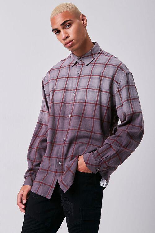 GREY/PLUM Grid Ombre Wash Flannel Shirt, image 1