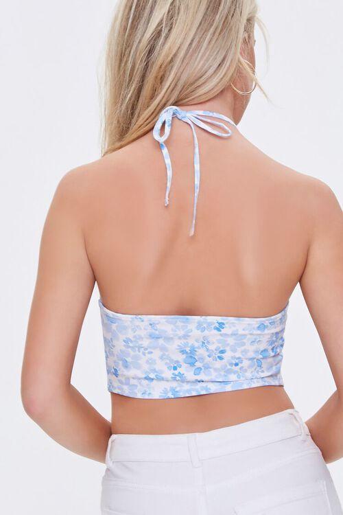 WHITE/BLUE Floral Print Halter Top, image 3
