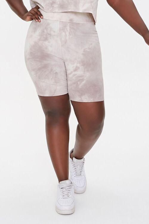 TAUPE/CREAM Plus Size Camo Tee & Shorts Set, image 6