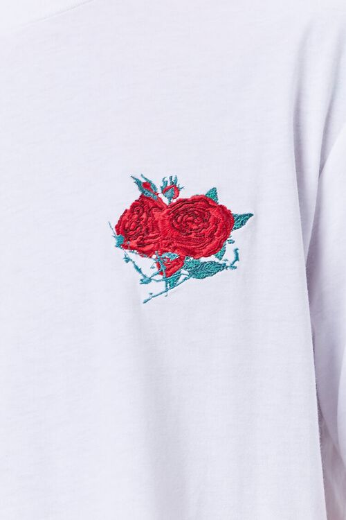 WHITE/RED Rose Embroidered Graphic Tee, image 5