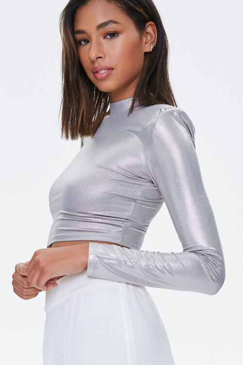 Metallic Pin Dot Crop Top, image 2