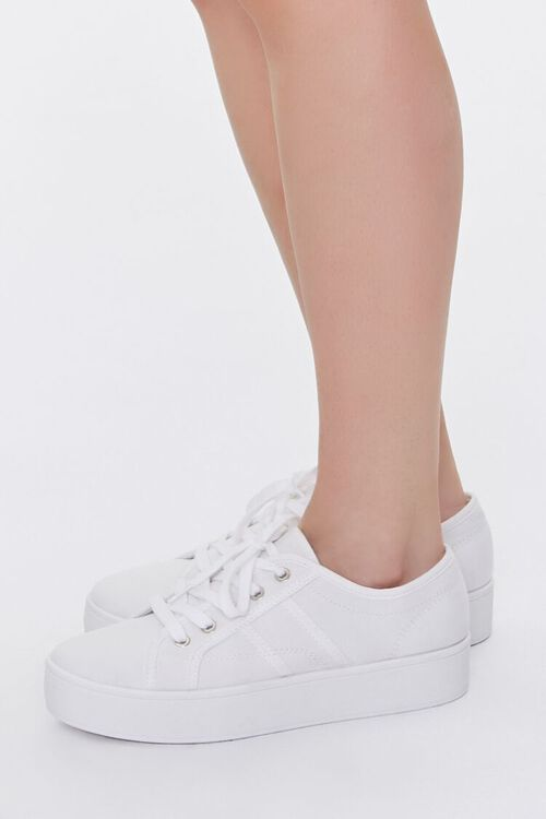 WHITE Lace-Up Low-Top Sneakers, image 2