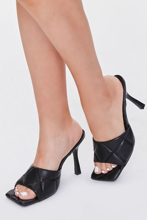 Quilted Square-Toe Heels, image 1
