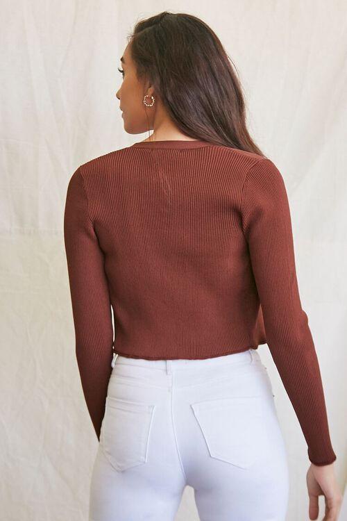 BROWN Ribbed Semi-Cropped Cardigan Sweater, image 3