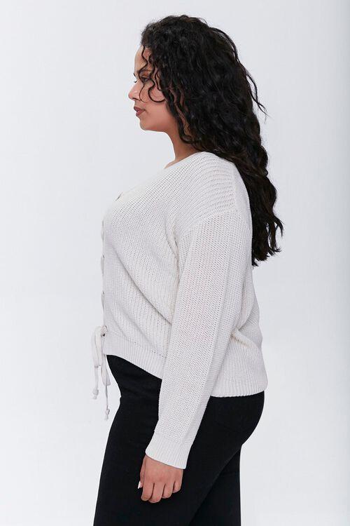 Plus Size Lace-Up Cardigan Sweater, image 2