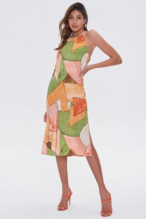 Abstract Print Halter Midi Dress, image 4