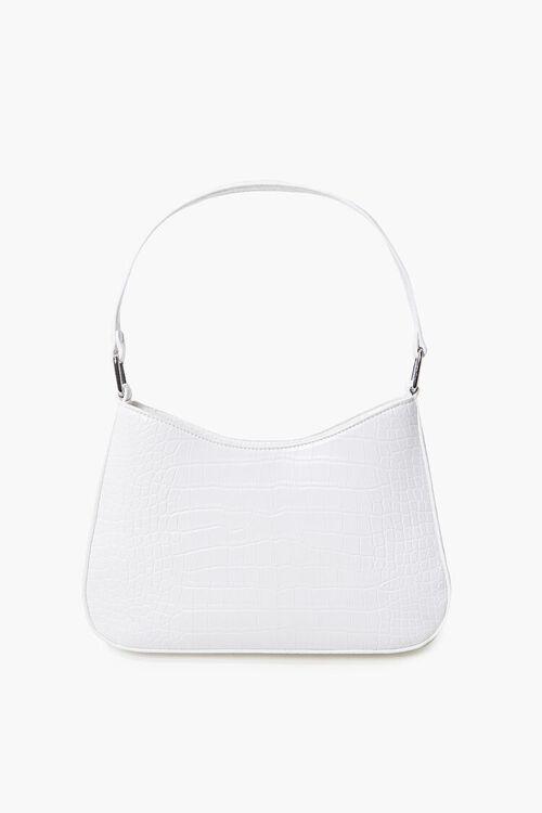 WHITE Faux Croc Leather Shoulder Bag, image 1