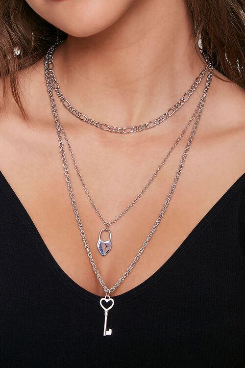 Heart & Key Pendant Layered Necklace, image 1