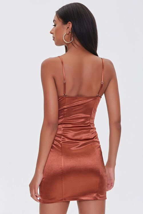BROWN Satin Bodycon Mini Dress, image 3