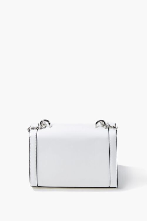 WHITE Structured Piped-Trim Crossbody Bag, image 4