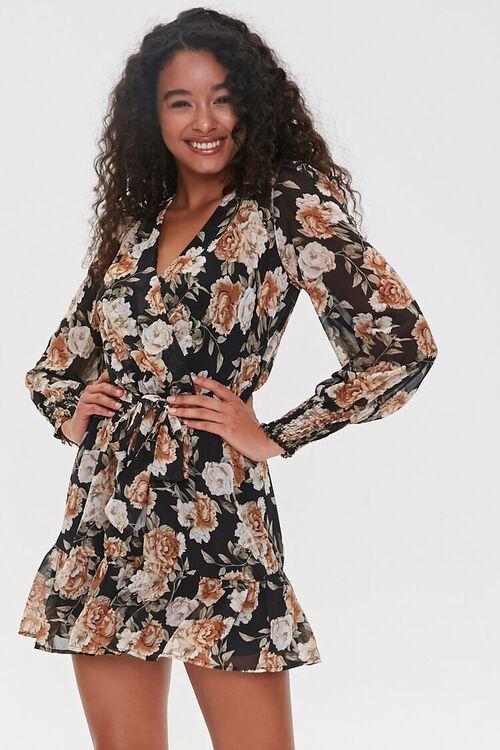 BLACK/TAUPE Floral Print Mini Dress, image 1