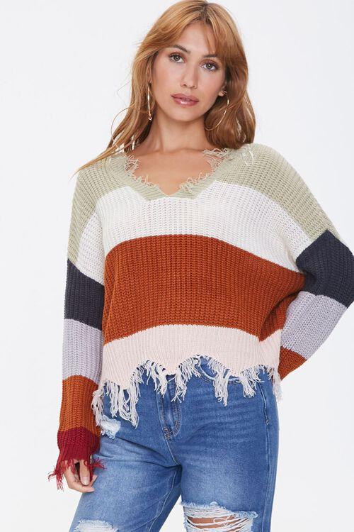Distressed Colorblock Sweater, image 1