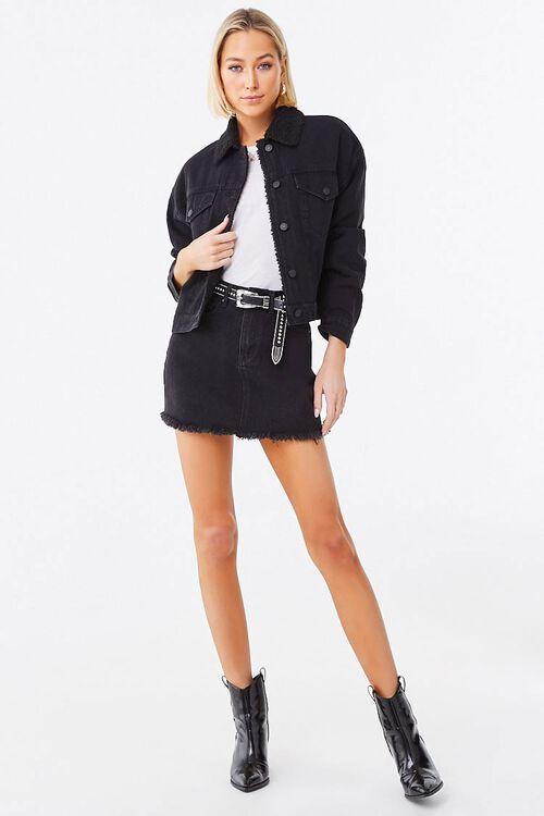 BLACK/BLACK Faux Shearling-Lined Denim Jacket, image 4