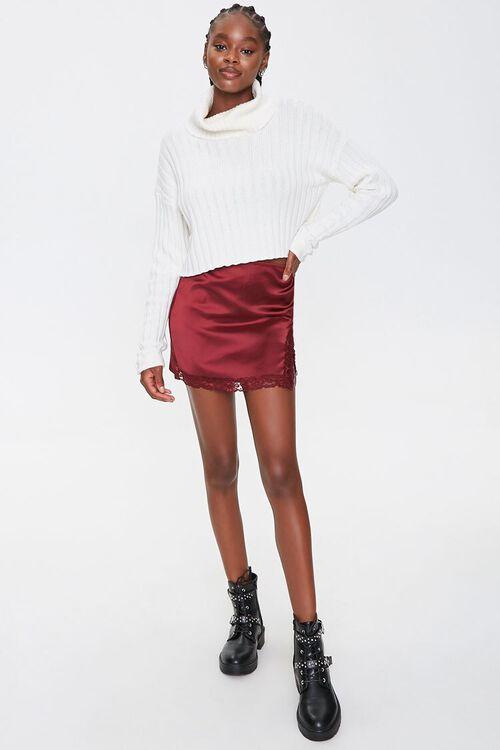 Satin Lace-Trim Mini Skirt, image 5