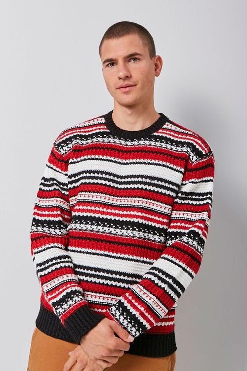 Striped Knit Crew Neck Sweater, image 2
