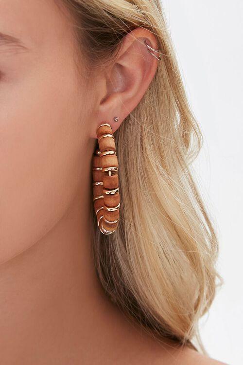 Wood & Disc Charm Hoop Earrings, image 2