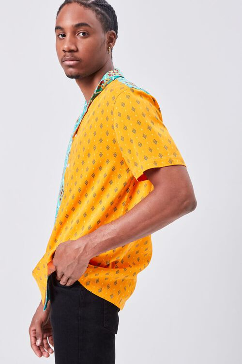 Colorblock Ornate Print Fitted Shirt, image 2