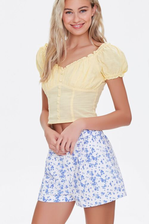 Floral Print High-Rise Shorts, image 1