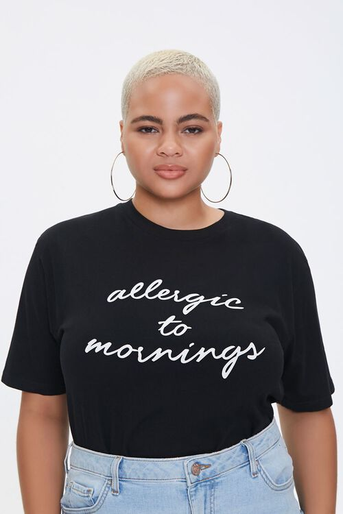 Plus Size Allergic to Mornings Graphic Tee, image 1