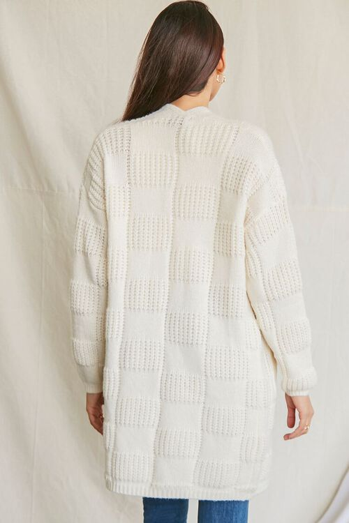 IVORY Checkered Purl Knit Cardigan Sweater, image 3