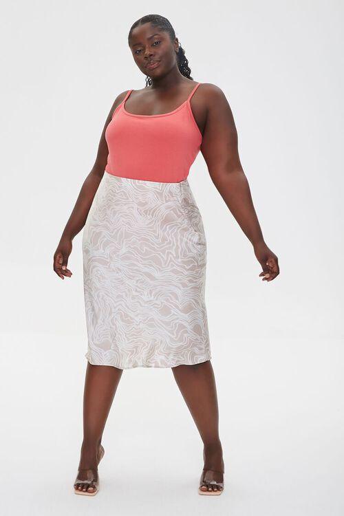 Plus Size Satin Line Art Skirt, image 1