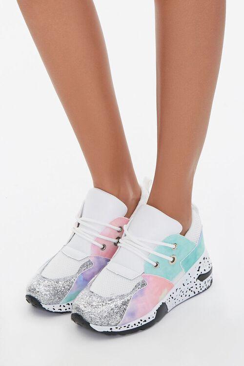 Glitter-Toe Patternblock Sneakers, image 1
