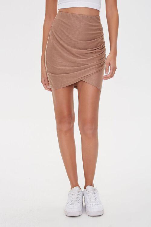 TAUPE Ruched Tulip-Hem Mini Skirt, image 2