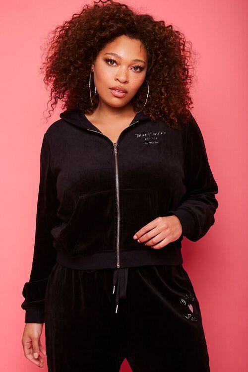 Plus Size Juicy Couture Velour Zip-Up Jacket, image 1