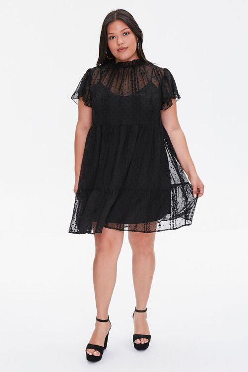 Plus Size Ruffle-Trim Lace Dress, image 4