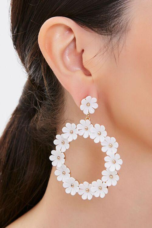 Floral Hoop Drop Earrings, image 1