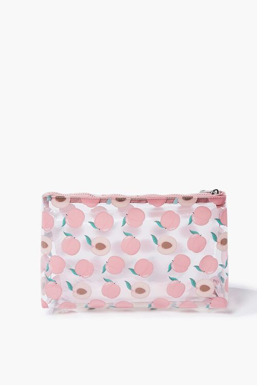Peach Print Zippered Pouch, image 1
