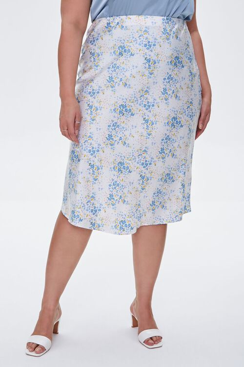 Plus Size Satin Floral Midi Skirt, image 2