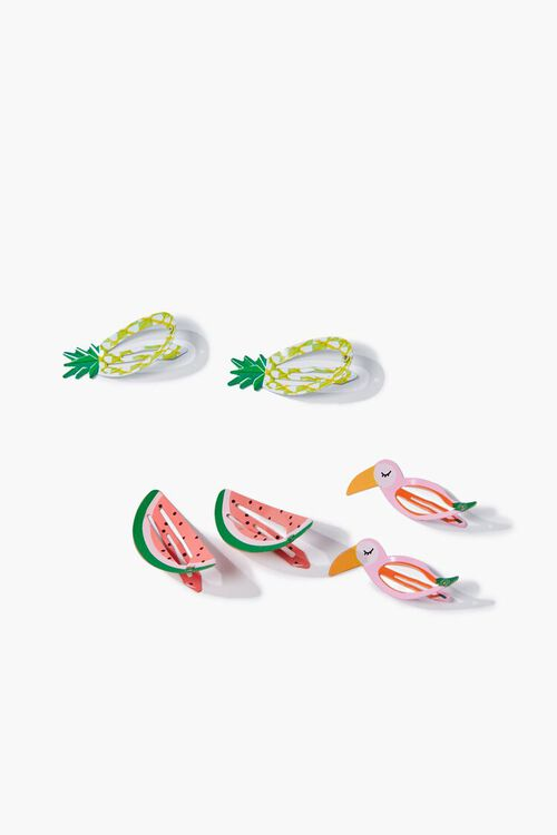 PINK/MULTI Tropical Snap Hair Clips, image 2