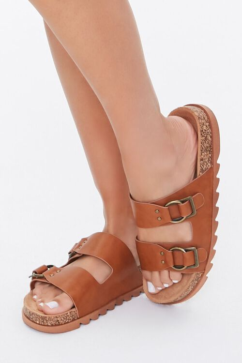 Faux Leather Buckled Sandals, image 1