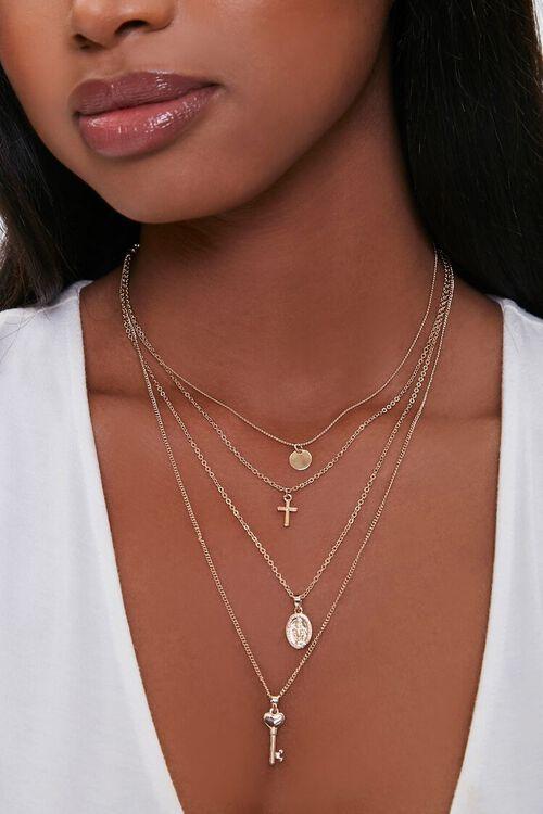 GOLD Key Pendant Layered Necklace, image 1