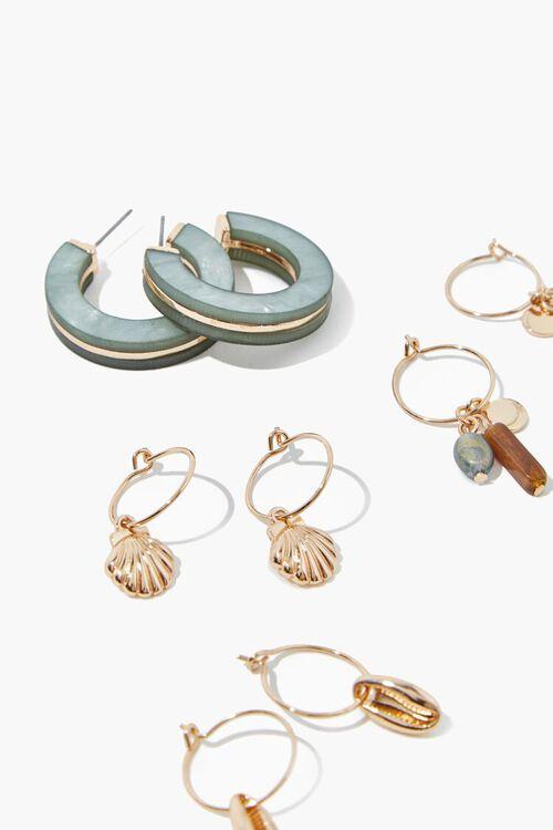 GOLD Seashell Hoop Earring Set, image 2