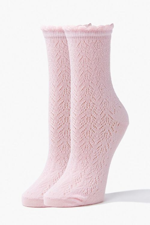 Lace Knit Crew Socks, image 1