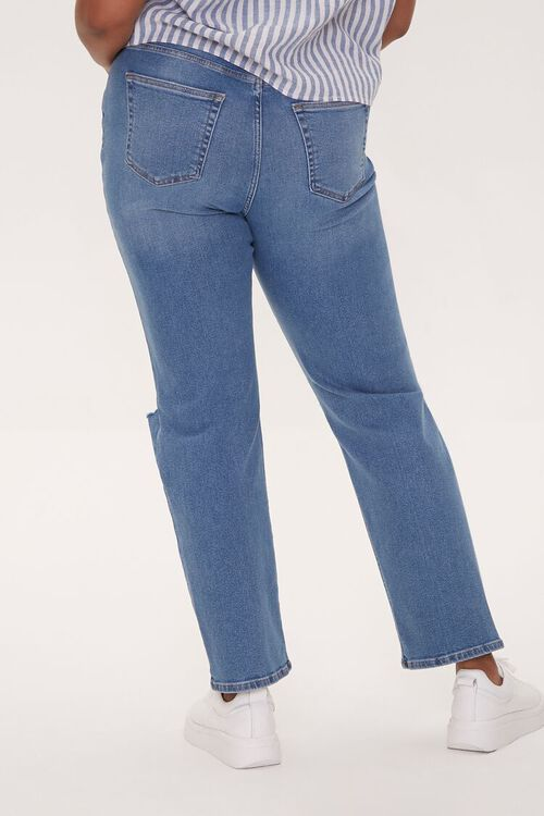 Plus Size Distressed Straight-Leg Jeans, image 4