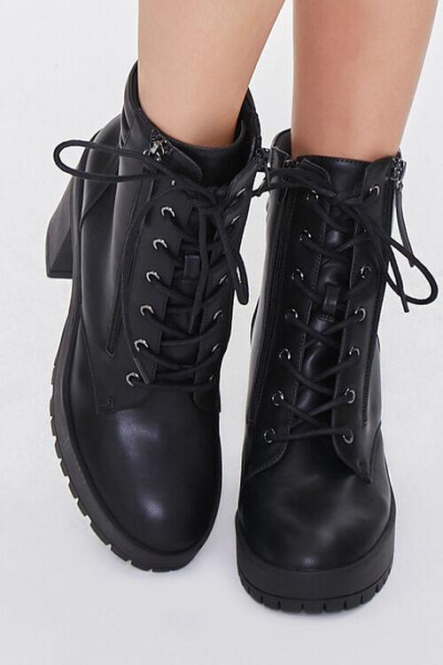 BLACK Faux Leather Block Heel Booties, image 4