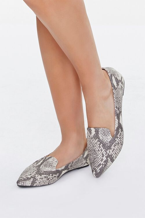 TAUPE/MULTI Pointed Snake Print Loafers, image 1