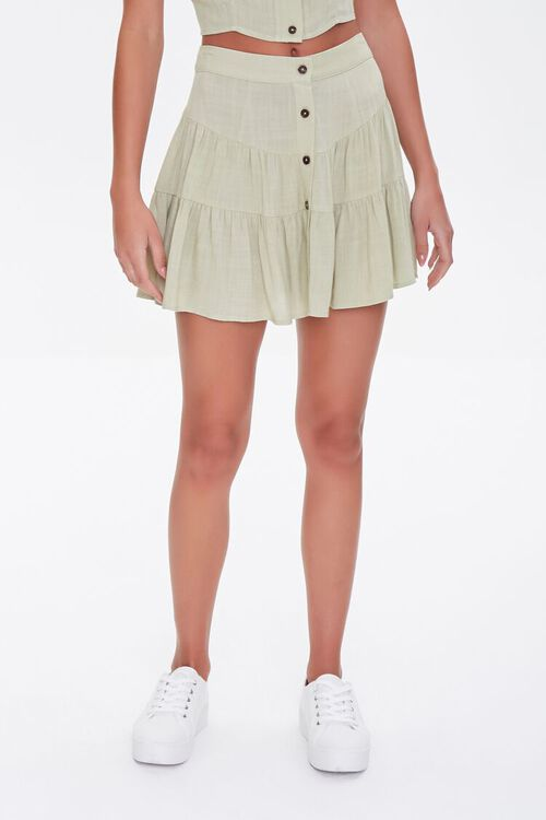 Tiered Button-Front Mini Skirt, image 2