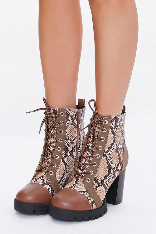 Faux Snakeskin Block Heel Boots, image 1