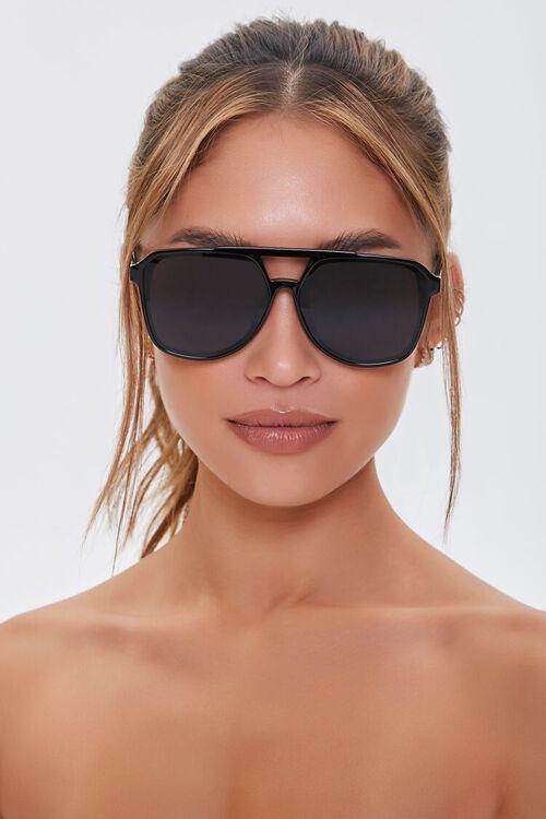 BLACK/BLACK Geo Aviator Sunglasses, image 2