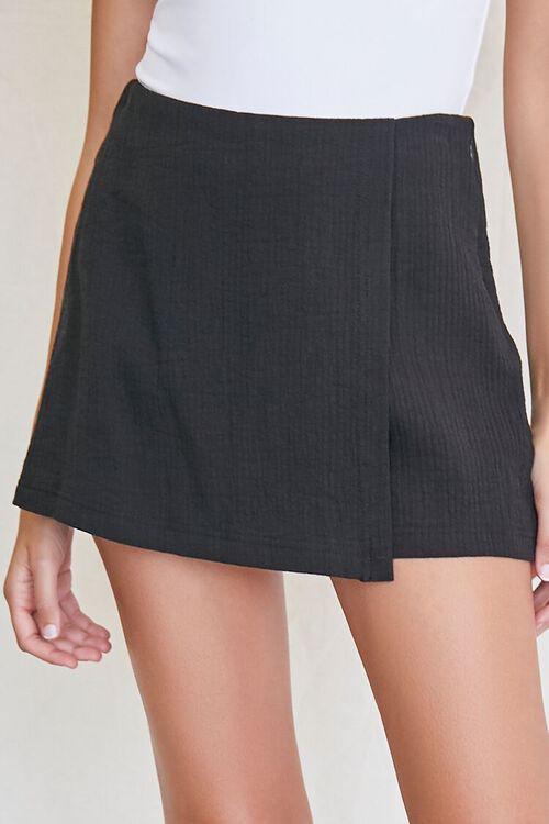 BLACK Textured Cotton Skort, image 1