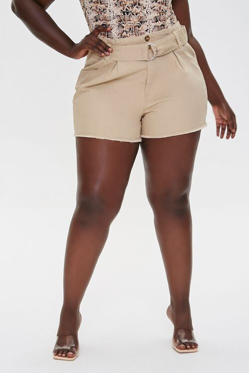 Plus Size Belted High-Rise Shorts, image 2