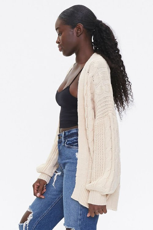 Cable Knit Open-Front Cardigan, image 2