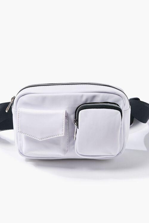 WHITE Nylon Zippered Belt Bag, image 4