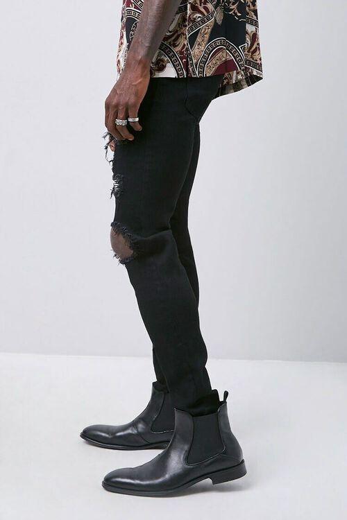 BLACK/SILVER Rhinestone Distressed Slim-Fit Jeans, image 2