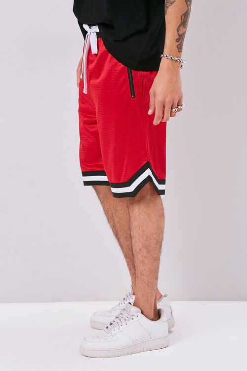 Varsity-Striped Mesh Shorts, image 3