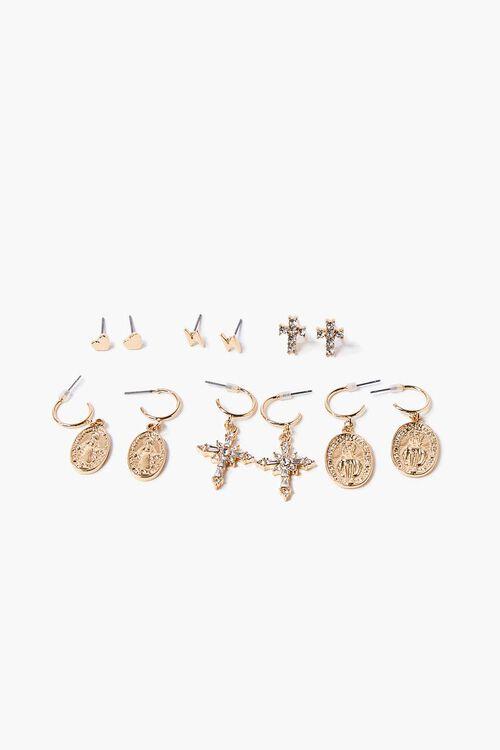 Cross Charm Drop & Stud Earring Set, image 1